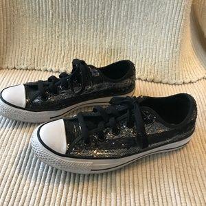 Converse Black Sequin All Star's